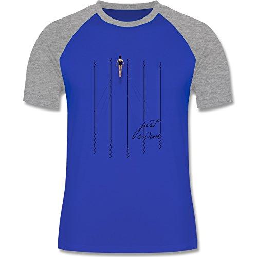 Wassersport - Just swim - zweifarbiges Baseballshirt für Männer Royalblau/Grau meliert