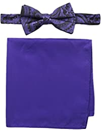 Nick Graham Men's Paisley Bow Tie with Pocket Square