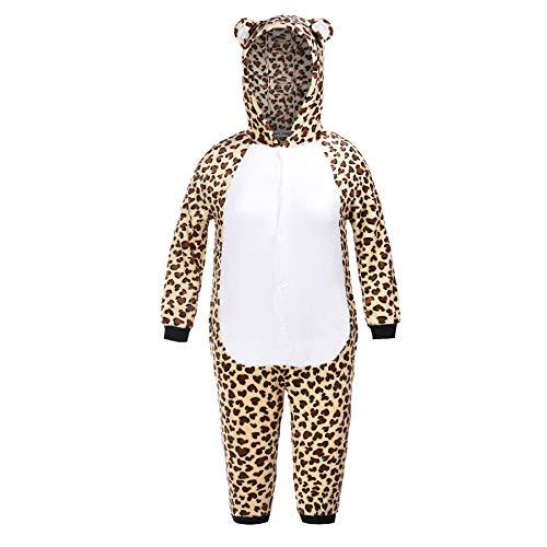 Matt Viggo Schlafanzug Mädchen Jungen Pyjama Unisex Jumpsuit Kinder Tiere Kostüm Fasching Overall Hausanzug, Leopard, 140 (Kinder Leopard Pyjama)