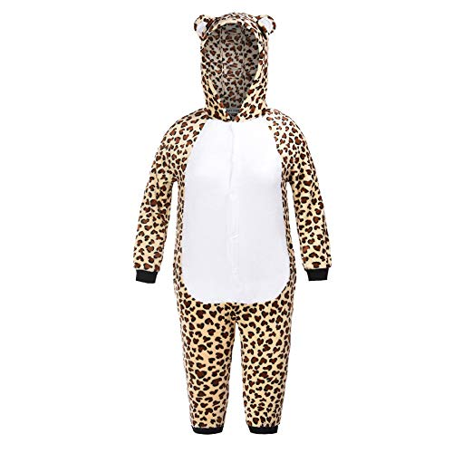 Matt Viggo Schlafanzug Mädchen Jungen Pyjama Unisex Jumpsuit Kinder Tiere Kostüm Fasching Overall Hausanzug, Leopard, 110
