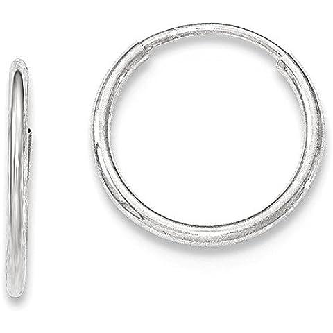 Oro Bianco 10K 1,2 millimetri Endless orecchini