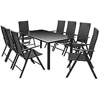 [Patrocinado]Festnight Conjunto de Comedor Muebles de Jardín Estructura Aluminio 9 piezas