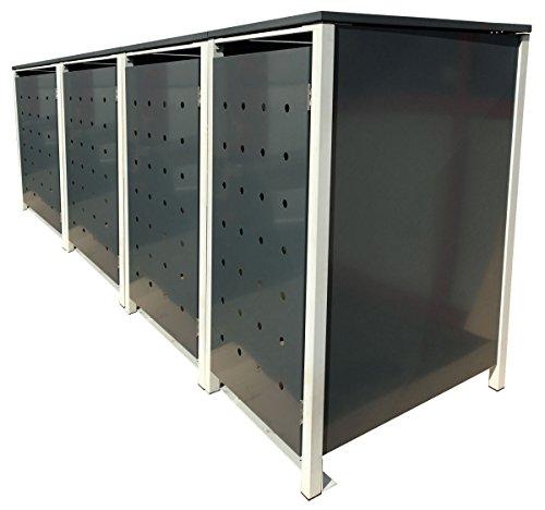 BBT@ | Hochwertige Mülltonnenbox für 4 Tonnen je 240 Liter mit Klappdeckel in Grau / Aus stabilem pulver-beschichtetem Metall / Stanzung 3 / In verschiedenen Farben sowie mit unterschiedlichen Blech-Stanzungen erhältlich / Mülltonnenverkleidung Müllboxen Müllcontainer - 2