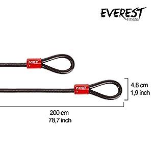 EVEREST FITNESS Cable Antirrobo Universal de Acero Revestido en Plástico, 200 cm - 2 Años Garantía de Satisfacción - Cuerda de Bucle, Cable de Acero, Candado de Cadena
