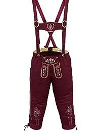 Damen Trachten Kniebundhose Jeans Hose kostüme mit Hosenträgern Weinrot