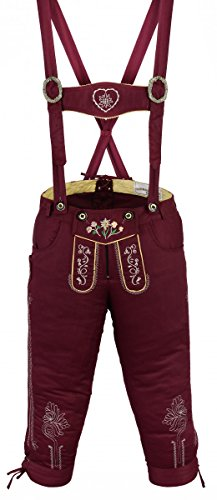 Damen Trachten Kniebundhose Jeans Hose kostüme mit Hosenträgern Weinrot, Größe:42