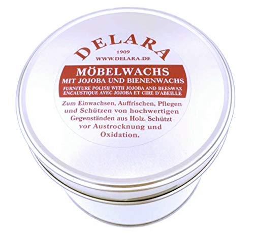 DELARA Sehr hochwertiges Möbelwachs mit Jojoba, Bienenwachs und Zitronen-Duft, schützt vor Austrocknung und Oxidation - Made in Germany