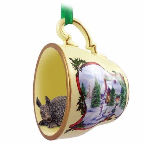 Armadillo Teacup Snowman Christmas Ornament by Conversation Concepts - Armadillo Christmas Ornament