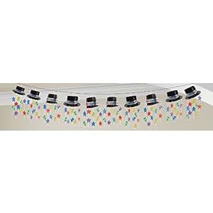 Amscan 3.66m Guirlande de Nouvel An Chapeau haut-de-forme, Multicolore