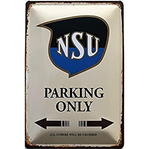 Deko7 Blechschild 30 x 20 cm NSU Parking only braun