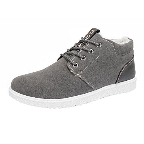 Juleya scarpe da ginnastica invernale per Uomo - Suede Warm Fodera Sneaker Flat Trainers Stivaletti in Chiusura in Pelle Slipper Scarpe Sportive Grigio