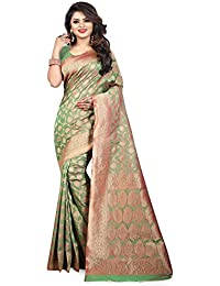 Aksh Fashion Emblished Kanjivaram Cotton Silk Saree With Blouse