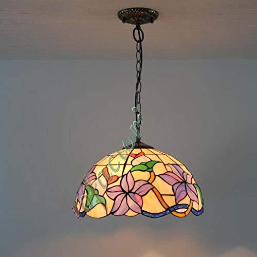 16-Zoll-lila Lilie Blumenmuster Glasmalerei Schatten Tiffany-Stil Pendelleuchten 2-Licht für Wohnzimmer Schlafzimmer Decke Hängelampe Leuchte, 110-240V - Lila Glasmalerei