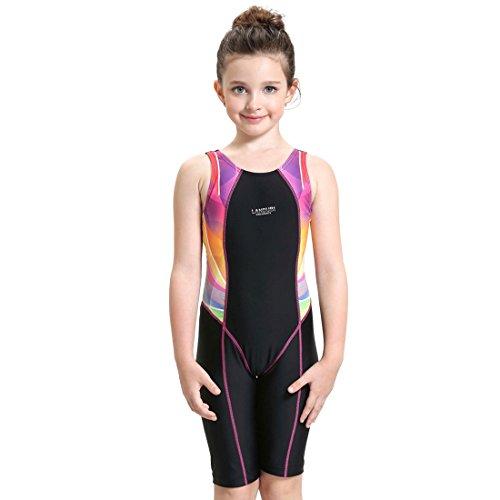 G WELL Kinder Badeanzug Wettkampf Einteilige Schwimmanzug Ärmellose Tauchanzug für Mädchen Jungen Rosa 164