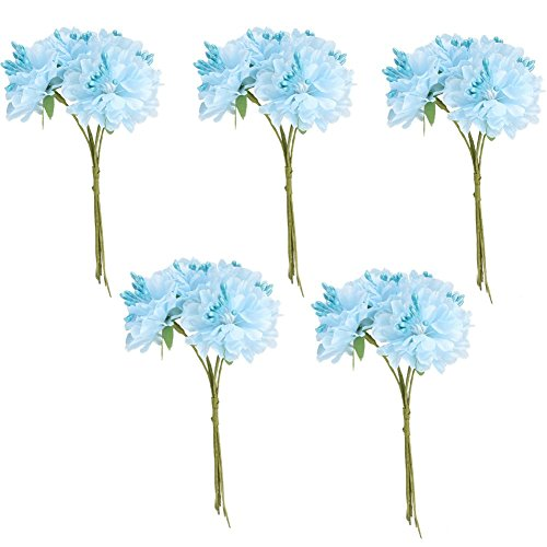 ourwarmr-5-bunches-of-light-blue-mini-silk-daisy-artificial-flower-stamen-bud-bouquets-for-wedding-d