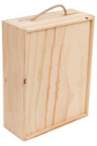 Caja madera para 3 botellas de vino o cava de 75 Cl. Madera sin tratar, interior con separadores y asa