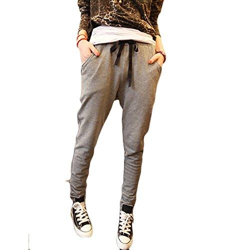 Donna Harem Pantaloni Pantaloni Con Tasche Pantaloni Lunghi da Yoga ( Grigio Scuro EU M )