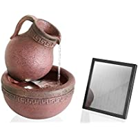 Terracotta Effect Jug and Bowl Solar Water Feature with Lights