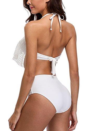 Charmo Damen Frauen-Schulter Flounce Bikini-Sets Strap Crop Top Lace Volant Beachwear Weiß #2