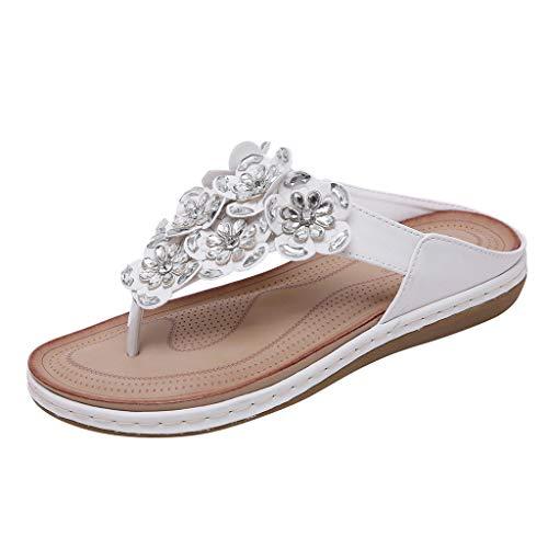 MakefortuneFrauen Sommer Böhmen Low Wedge Sandalen Post Thong Flip Flops Hausschuhe Bequeme Strand Schuhe für Mädchen Breite Passform mit Strass Perlengröße -