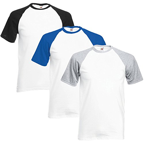 Fruit of the Loom 3 Stück Herren Baseball T-Shirts Gr. L, Black, Royal Blue & Heather Grey -