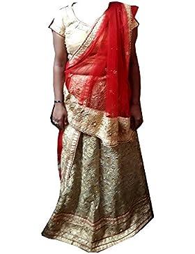 Espejo indio trabajo con motivo Vintage nupcial mujeres Lehenga cielo azul Partido desgaste lengha choli cosido...