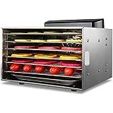 Deshidratador de Alimentos, Temporizador Bandeja de Acero Inoxidable de 6 Capas, Secadora de Alimentos