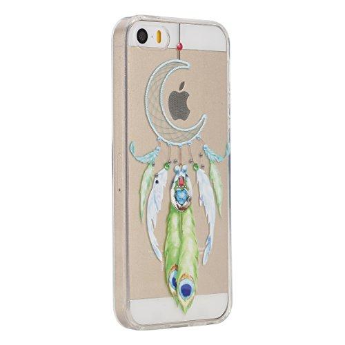 Etsue Coque pour Apple iPhone 6/6S 4.7,TPU Silicone Etui Case Cover pour Apple iPhone 6/6S 4.7,Haute Qualité Transparent Clair Soft Gel pour Apple iPhone 6/6S 4.7,Coloré Fleur Montre Campanula Motif S Campanule lune