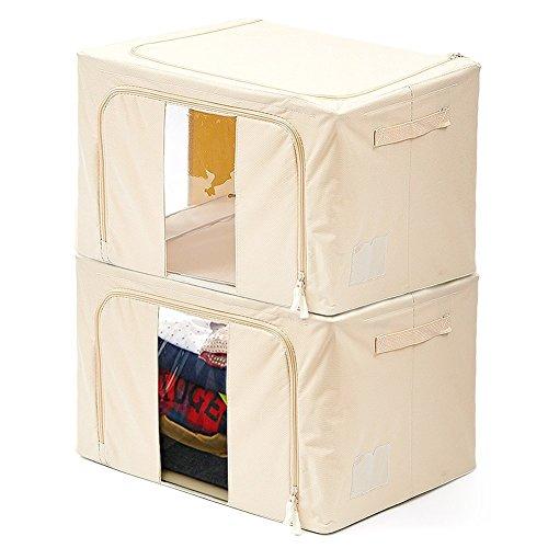 Cesto pieghevole, [confezione da 2] ezoware extra grande organizzatore con ceniera cestino contenitore portaoggetti portabiancheria deposito con maniglie per giocattoli, vestiti, dvd, libri, alimenti, lenzuole, e arte – beige