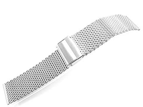 JRRS7777 22mm Stainless Steel Watch Mesh Bracelet New Wristband 1.0mm Wire Silver Tone Brushed Satin