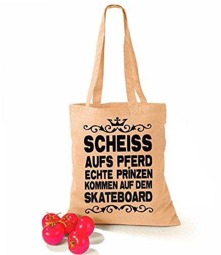 Artdiktat Baumwolltasche Scheiß auf´s Pferd - Echte Prinzen kommen auf dem Skateboard yellow sand