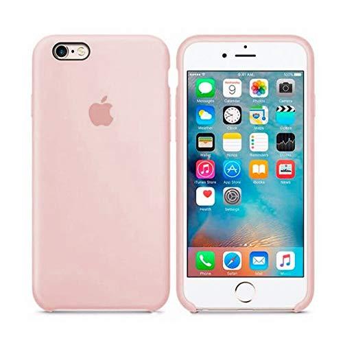 Funda Apple para iPhone 6 iPhone 6s Carcasa Protectora con Logo Original Silicona Suave Gel Protector Ultrafino Textura Antideslizante protección contra Golpes, arañazos y caídas (Rosa Arena)