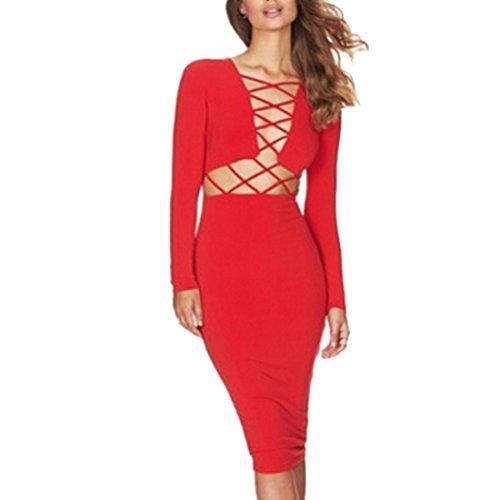 sexy Frauen kleiden Kleid der langen Huelse Cocktail Verein Partei ...
