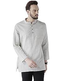 Vivids India Men's Cotton Linen White & Grey Stripes Kurta - G-210