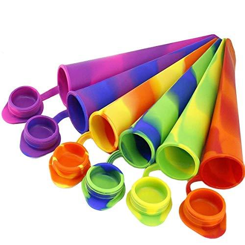 joyoldelf 6 Pezzi Colorata Stampi per Ghiaccioli in Silicone Senza BPA per la Preparazione di Ghiaccioli, Gelati, Sorbetti (6 Pezzi)