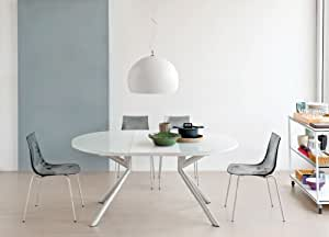 Tavolo allungabile meteor o g calligaris vetro bianco for Tavolo vetro allungabile amazon