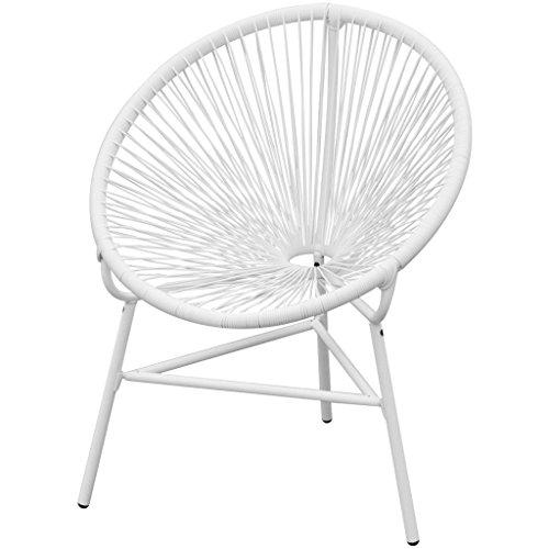 vidaXL Gartenstuhl Poly Rattan oval Weiß Stuhl Lounge Korbsessel Esszimmerstuhl