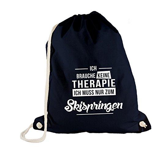 ShirtFlow Turnbeutel Ich Brauche Keine Therapie Skispringen, Navy