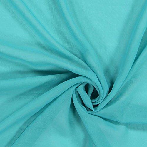 Fabulous Fabrics Chiffon Stoff Türkis - Weicher Chiffon Stoff zum Nähen von Kleider, Blusen, Tücher, Rocke und zur Dekoration - Chiffon Dekostoff - Meterware ab 0,5m -