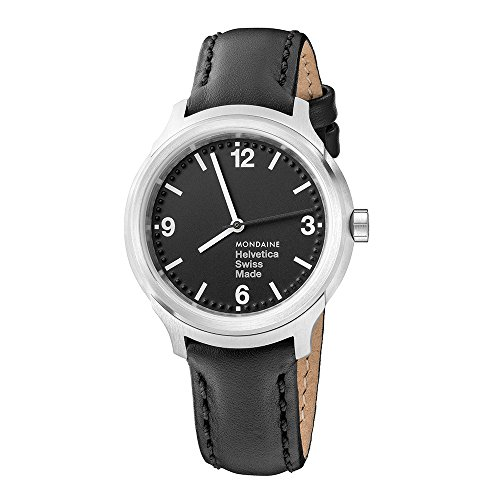 Mondaine Helvetica No1 Bold Women's/ Men's Watch, Black Dial with Black Leather Strap