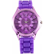 DUSENG Reloj de pulsera de cuarzo de gelatina de goma floral jalea reloj de silicona flor