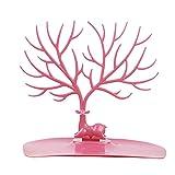 Colgador de joyería para árbol de ciervo, soporte para collar, pulsera, joyería, organizador de almacenamiento Tamaño libre rosa