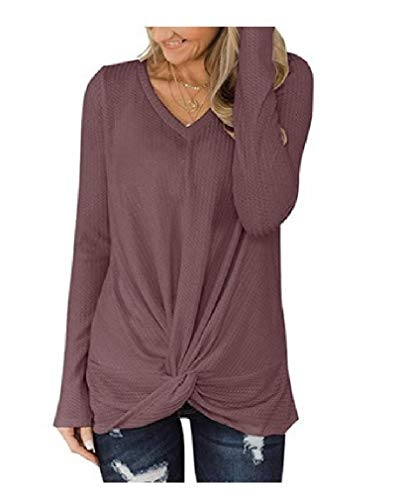 CuteRose Womens Tie Knot Front Knit Jumper Long Sleeve Pullover Tunic Tops Brown 2XL -