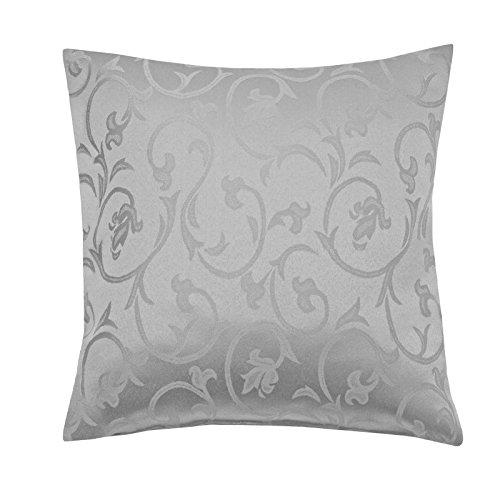 Moderno Barock Kissenhülle Sofa Kissen 40x40 cm im Damast Stil Farbe 'Grau'