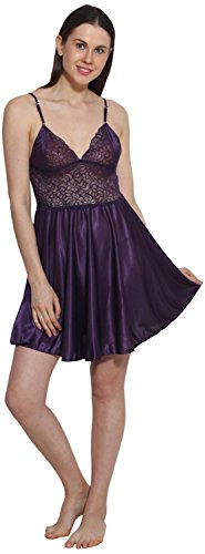 eSOUL Women Solid Self Design Purple Free Size Satin Babydoll Night dress and night wear  available at amazon for Rs.329