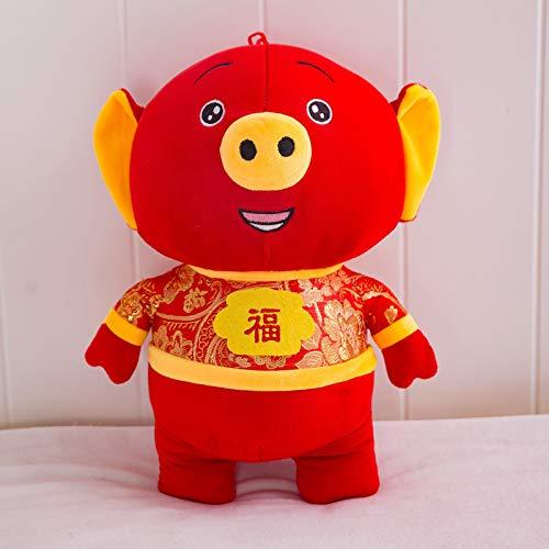 TKHCOLDM Plüschspielzeug, Tang kostümiertes Wortschwein, Plüschpuppe, Jahr-Glücks-Maskottchen - Fu Wortschwein, 20cm