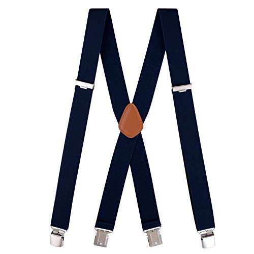 (Neihou Hosenträger für Herren x-form Breit 3.5cm mit 4 Starken Clips Stark Hosenträger Herren Navy Blau S001A12 MEHRWEG)