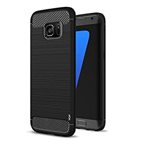 WOW Imagine Shock Proof Carbon Fibre Brushed Texture Armour Impact Resistant Slim Profile Flexible TPU Back Case Cover for Samsung Galaxy S7 - Black