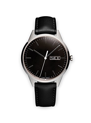 Uniform-Wares-Unisex-Polished-Steel-Quartz-Watch-with-Black-Dial-Analogue-Display-and-Black-Leather-Strap-C40