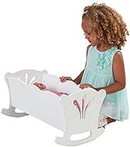 Kidkraft 60101 Lil' Doll Cradle - Culla Bianca in Legno, con Biancheria, per Bambole da 4